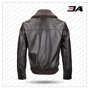Fashion Men Shearling Leather Jacket