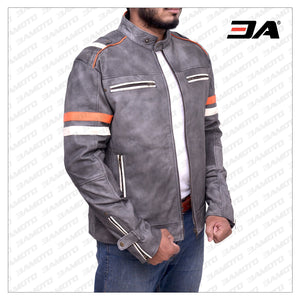 FOSSIL GREY RETRO BIKER LEATHER JACKET - 3A MOTO LEATHER