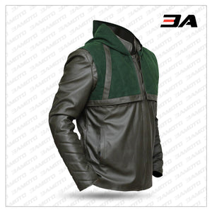 Green Arrow Stephen Amell Hooded Leather Jacket