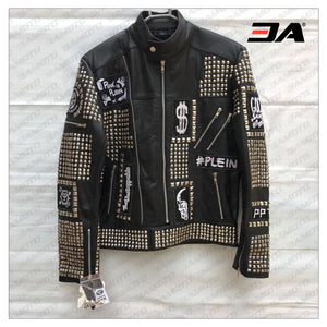 Handmade Black Color Biker Jackets, Real Leather Studded Jackets For Mens - 3A MOTO LEATHER
