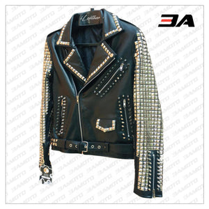 Handmade Black Leather Studded Punk Style Jacket For Women - 3A MOTO LEATHER