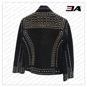 Handmade Black Punk Style Studded Jackets, Suede Studded Jackets For Men - 3A MOTO LEATHER
