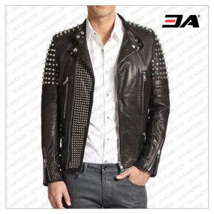 Handmade Men Black Gold Studded Leather Biker Jacket - 3A MOTO LEATHER