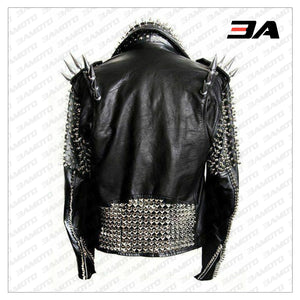 Handmade Mens Black Fashion Long Studded Punk Style Leather Jacket - 3A MOTO LEATHER