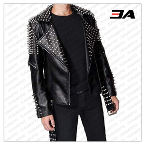 Handmade Men's Black Fashion Studded Punk Style Leather Jacket - 3A MOTO LEATHER
