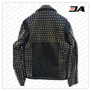 Handmade Mens Black Fashion Studded Punk Style Leather Jacket - 3A MOTO LEATHER