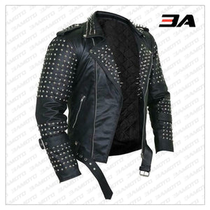 Handmade Mens Black Fashion Punk Style Studded Leather Jacket - 3A MOTO LEATHER