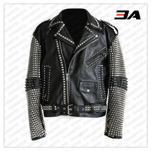 Handmade Mens Black Fashion Punk Style Studded Leather Jacket Biker Jacket - 3A MOTO LEATHER