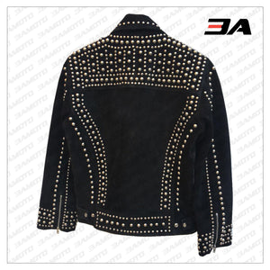 Handmade Mens Black Fashion Studded Punk Style Suede Jacket - 3A MOTO LEATHER