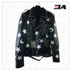 Handmade Mens Black Leather Studded Stars Punk Style Jacket - 3A MOTO LEATHER