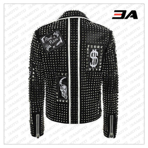 Handmade Mens Fashion Studded Punk Style Leather Jacket - 3A MOTO LEATHER