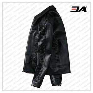 Handmade Mens Studded Leather Jacket,Rock Punk Style Leather Jacket - 3A MOTO LEATHER