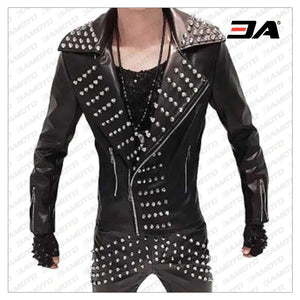 Handmade Mens Studded Leather Jacket with Silver Studs,Rock Style Leather Jacket, Stylish Leather jacket - 3A MOTO LEATHER