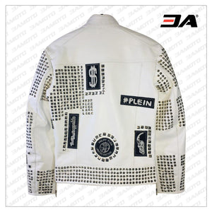 Handmade Mens White Leather Studded Phillip Plein Punk Style Jacket - 3A MOTO LEATHER