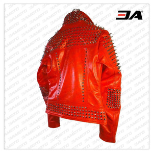 Handmade Red Punk Biker Jackets, Casual Leather Studded Jackets For Men - 3A MOTO LEATHER