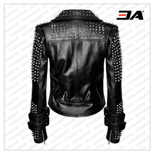 Handmade Women Black Punk Silver Spiked Studded Leather Biker Jacket - 3A MOTO LEATHER