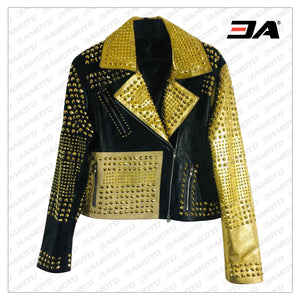 Handmade Women Black & Golden Leather Studded Punk Style Jacket - 3A MOTO LEATHER