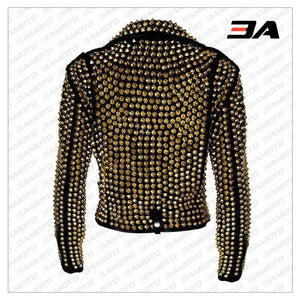 Handmade Women's Black Fashion Golden Studded Punk Style Leather Jacket - 3A MOTO LEATHER