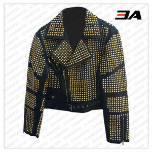 Handmade Womens Black Fashion Golden Studded Punk Style Leather Jacket - 3A MOTO LEATHER