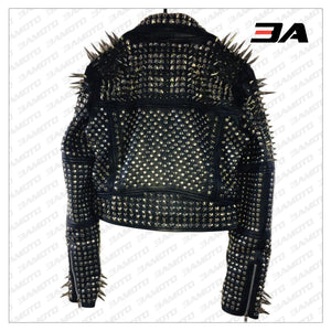 Handmade Women's Black Fashion Long Studded Punk Style Leather Jacket - 3A MOTO LEATHER