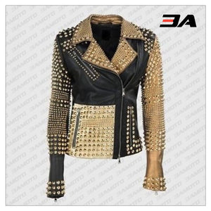 Handmade Womens Fashion Golden Studded Punk Style Leather Jacket - 3A MOTO LEATHER