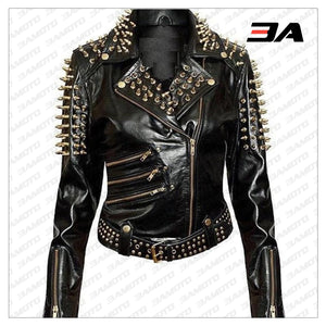 Handmade Womens Plain Black Fashion Studded Punk Style Jacket - 3A MOTO LEATHER