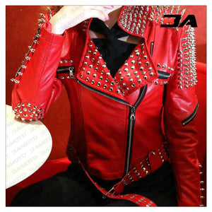 Handmade Women's Red Fashion Studded Punk Style Leather Jacket - 3A MOTO LEATHER