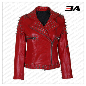 Handmade Womens Red Fashion Studded Punk Style Leather Jacket - 3A MOTO LEATHER