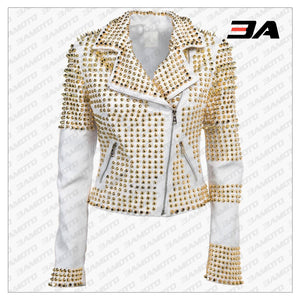 Handmade Womens White Golden Studded Punk Style Biker Leather Jacket - 3A MOTO LEATHER
