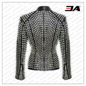 Ladies Fashion Studded Punk Rock Leather Jacket SJW112