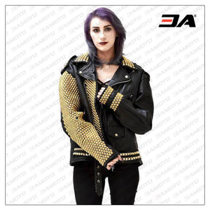 Ladies Fashion Studded Punk Rock Leather Jacket SJW115