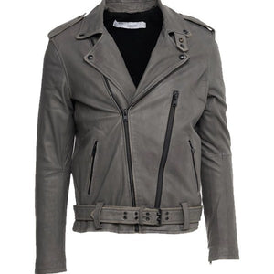Lapel Collar Style Leather Jacket - 3amoto