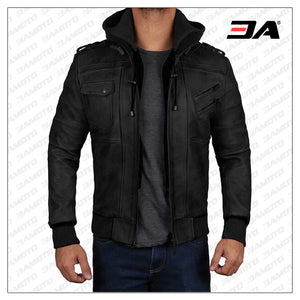 Edinburgh Black Hooded Leather Jacket