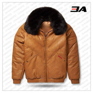 Leather V-Bomber Jacket Camel with Black Fox Fur