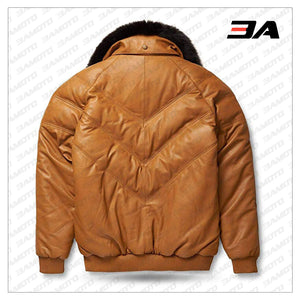 Leather V-Bomber Jacket Camel with Black Fox Fur back