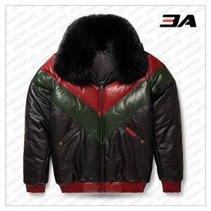 Leather V-Bomber Jacket Red Green Black with Black Fox Fur