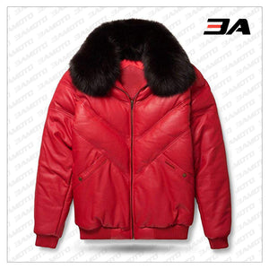 Leather V-Bomber Jacket Red with Black Fox Fur