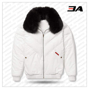 Leather V-Bomber Jacket White with Black Fox Fur