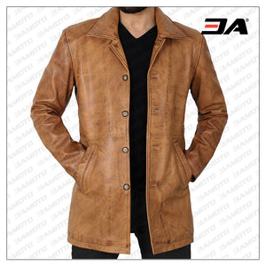 Leather car coat light brown