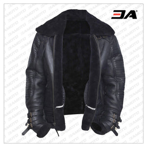 MEN BLACK BIKER SHEARLING JACKET - 3A MOTO LEATHER