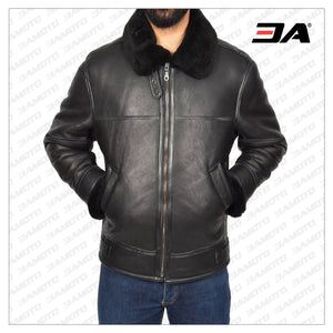 MEN BLACK SHEARLING FLYING LEATHER JACKET - 3A MOTO LEATHER
