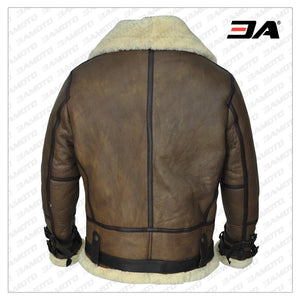 MEN BROWN B3 AVIATOR SHEARLING JACKET - 3A MOTO LEATHER
