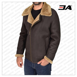 MEN BROWN B3 SHEARLING BOMBER JACKET - 3A MOTO LEATHER