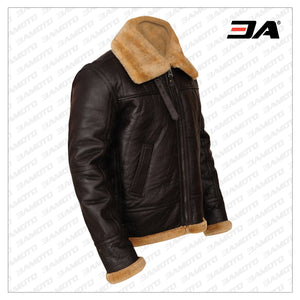MEN BROWN B3 SHEEPSKIN LEATHER JACKET - 3A MOTO LEATHER