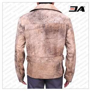 MEN DISTRESSED BROWN BIKER LEATHER JACKET - 3A MOTO LEATHER