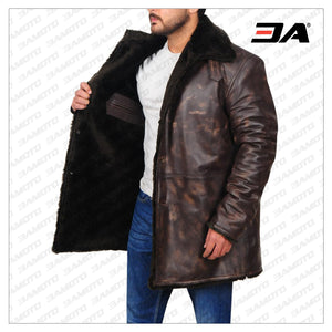 MEN DISTRESSED BROWN FUR COLLAR JACKET - 3A MOTO LEATHER