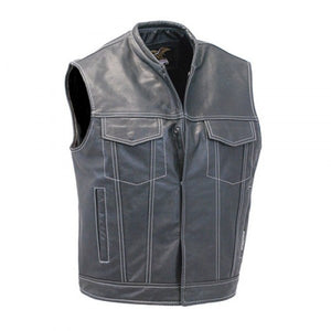 Mens Motorcycle Style Leather Vest - 3amoto