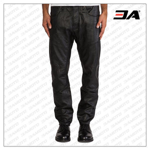 MENS FIVE POCKET LEATHER PANTS WITH RIVET ACCENT