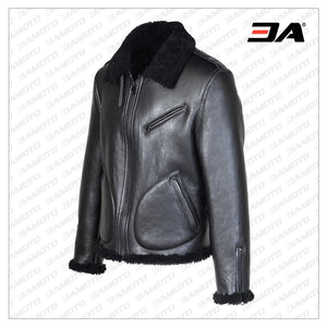 MEN SHEARLING BLACK BIKER JACKET - 3A MOTO LEATHER