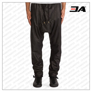 MENS LEATHER DROP CROTCH SKINNY PANTS WITH TOGGLE CLOSURE HEM